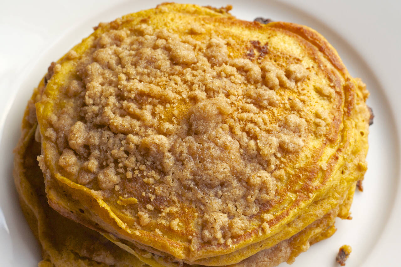 Pumpkin Pancakes with Cinnamon Streusel Recipe - MakeBetterFood.com