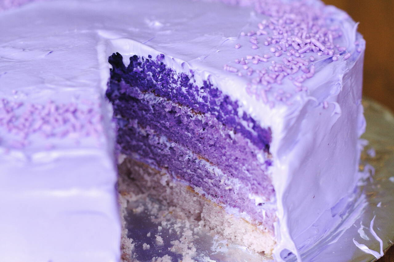 Birthday cake purple